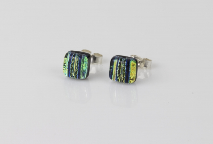 Dichroic glass jewellery uk, handmade stud earrings with striped yellow, black, blue. Square, glass 8-10mm, sterling silver