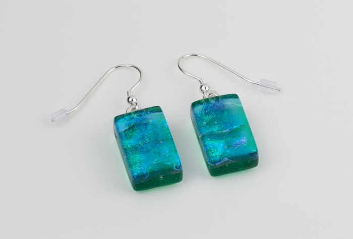Dichroic glass jewellery, glass drop earrings, emerald green glass earrings with ripple, art glass earrings, handmade in Shropshire, sterling silver hooks