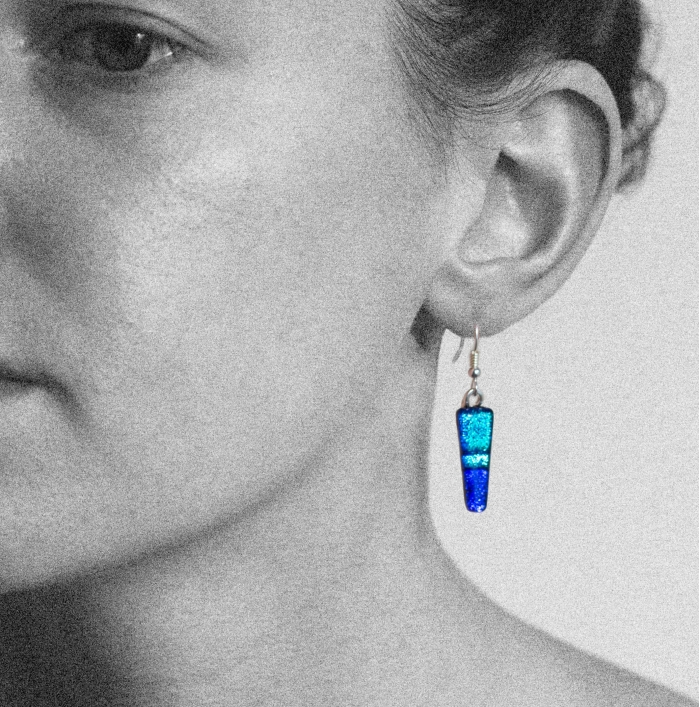 Dichroic glass jewellery, tapered blue glass earrings in 3 tones of blue, art glass earrings handmade in Shropshire, sterling silver hooks